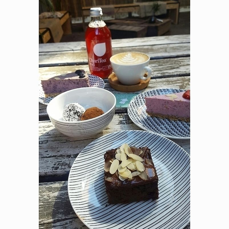 """Photo of Koffiebar Sowieso  by <a href=""""/members/profile/Joopzande"""">Joopzande</a> <br/>vegan brownie, cheesecake and blissballs  <br/> June 18, 2017  - <a href='/contact/abuse/image/89076/270412'>Report</a>"""