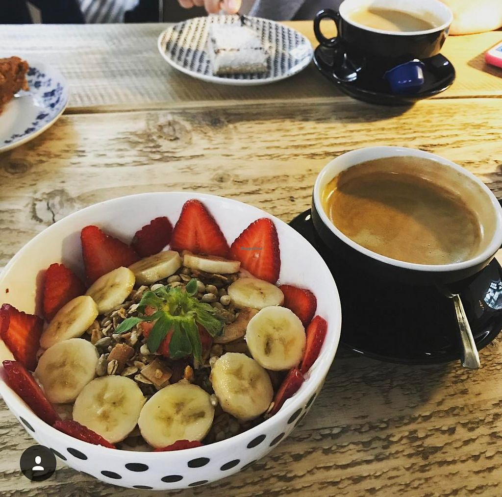 """Photo of Koffiebar Sowieso  by <a href=""""/members/profile/StephanieVV"""">StephanieVV</a> <br/>Granola with soy yoghurt and coffeeeee  <br/> July 24, 2017  - <a href='/contact/abuse/image/89076/284387'>Report</a>"""