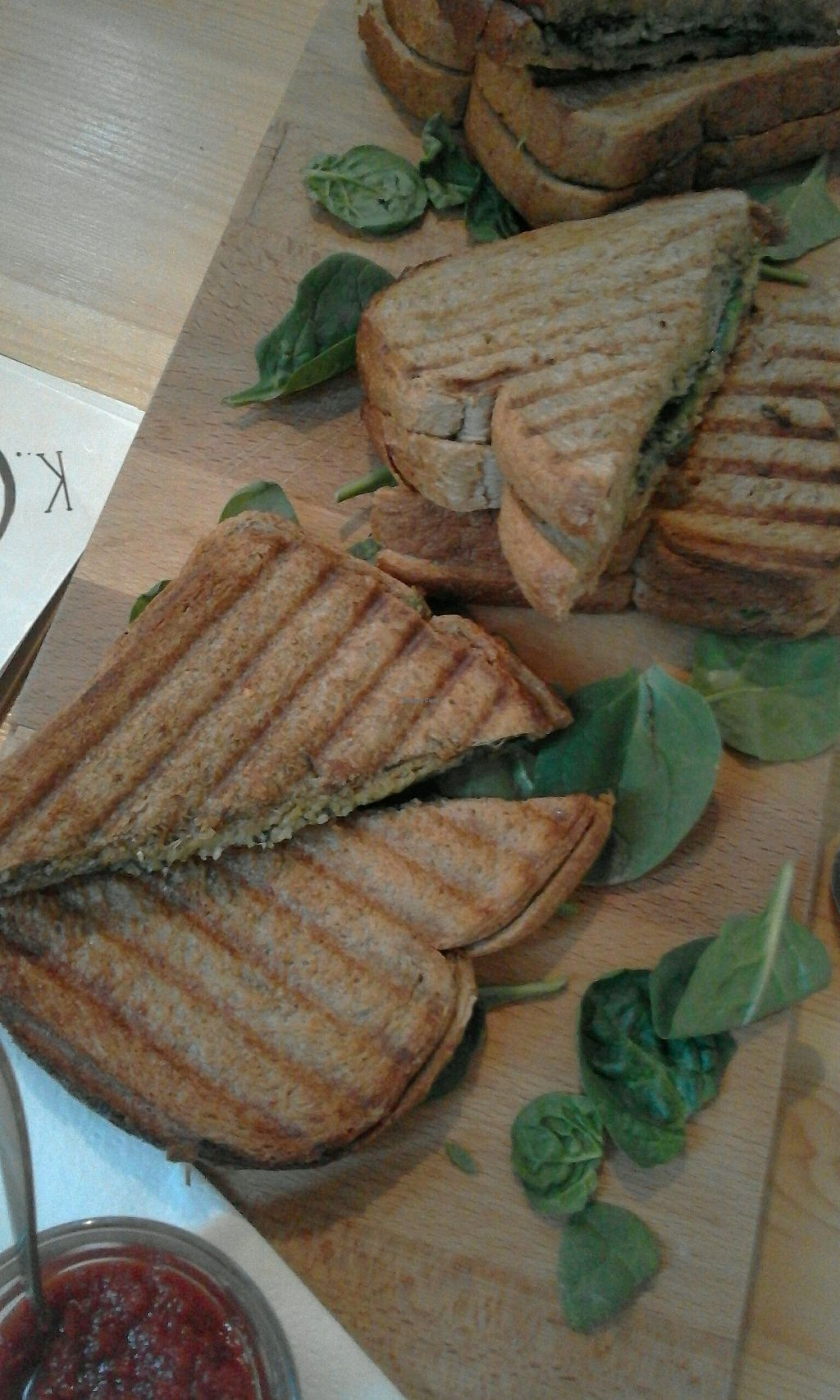 """Photo of Koffiebar Sowieso  by <a href=""""/members/profile/v_mdj"""">v_mdj</a> <br/>vegan pesto, avocado, spinach sandwich <br/> December 9, 2017  - <a href='/contact/abuse/image/89076/333869'>Report</a>"""