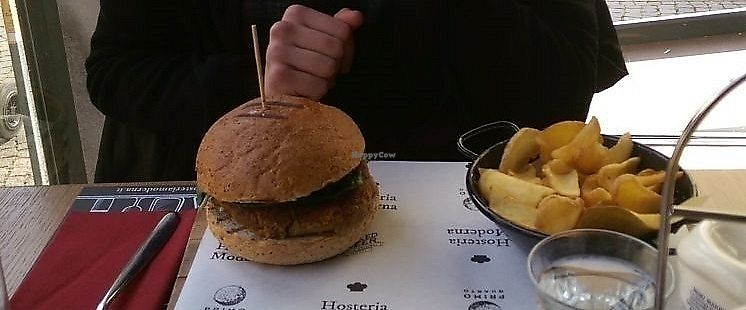 """Photo of Hosteria Moderna  by <a href=""""/members/profile/siderealfire"""">siderealfire</a> <br/>Eggplant burger with basil and cherrytomatoes (I asked to hold the cheese) and french fries <br/> February 15, 2018  - <a href='/contact/abuse/image/89088/359695'>Report</a>"""