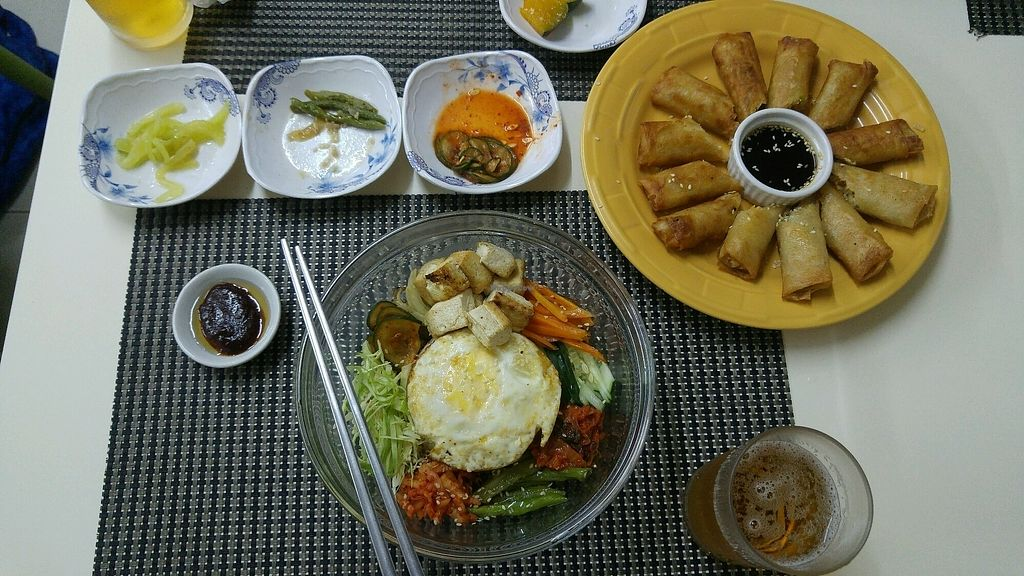 """Photo of Dali Dali Korean Food  by <a href=""""/members/profile/EtiCohen"""">EtiCohen</a> <br/>bibimbab and spring rolls (well it's more fried rolls) with tofu <br/> January 31, 2018  - <a href='/contact/abuse/image/89113/353165'>Report</a>"""