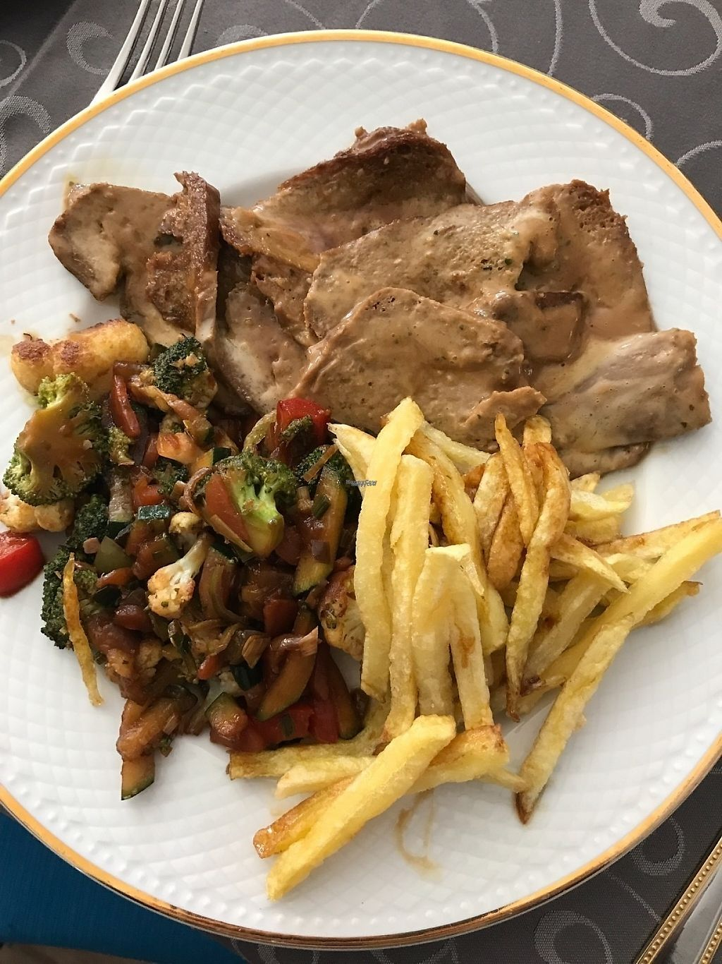 """Photo of Taskatenda  by <a href=""""/members/profile/Kevtool"""">Kevtool</a> <br/>Seitan with chips and vegetables <br/> March 24, 2017  - <a href='/contact/abuse/image/89143/240328'>Report</a>"""