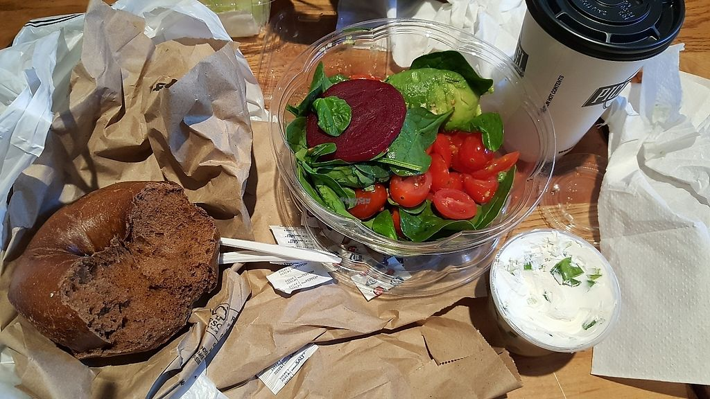 """Photo of Pick A Bagel  by <a href=""""/members/profile/debbiesmall"""">debbiesmall</a> <br/>Vegetables, salad, bagel, dairy free vegan cream cheese <br/> March 24, 2017  - <a href='/contact/abuse/image/89179/240406'>Report</a>"""