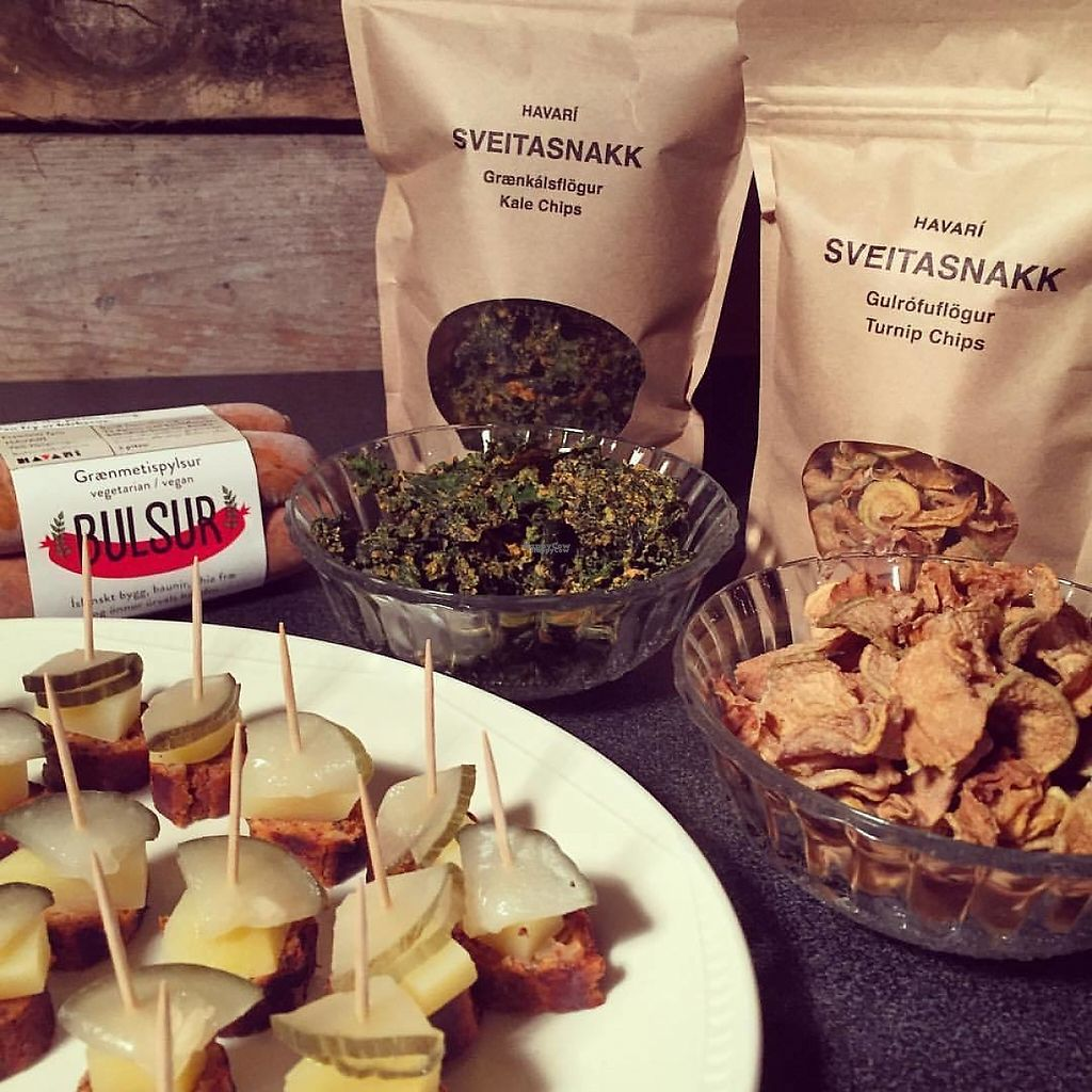 """Photo of Kaffi Havari  by <a href=""""/members/profile/Havari"""">Havari</a> <br/>We produce Bulsur, the only Icelandic vegan sausage. We also make chips that we call Sveitasnakk (country chips). Mainly from potato but also from turnip and kale.  <br/> March 25, 2017  - <a href='/contact/abuse/image/89188/240571'>Report</a>"""