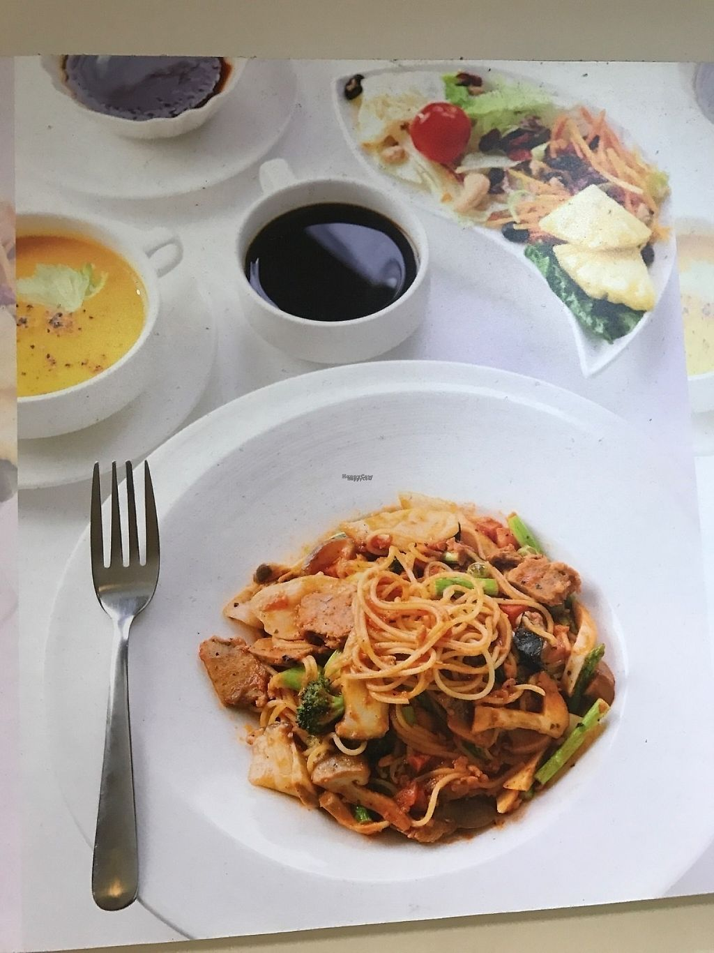 """Photo of Sunshinetomato  by <a href=""""/members/profile/Integrativelife"""">Integrativelife</a> <br/>Vegan pasta( noodles) with  soup, salad, desert, plum juice, set menu <br/> March 24, 2017  - <a href='/contact/abuse/image/89199/240363'>Report</a>"""