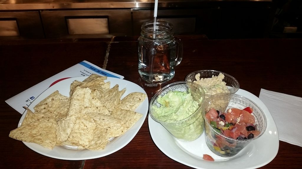 """Photo of Juicin Jar  by <a href=""""/members/profile/Kristenvegley"""">Kristenvegley</a> <br/>Threes company! Hummus, guacamole, salsa, and chips!  <br/> March 24, 2017  - <a href='/contact/abuse/image/89200/240281'>Report</a>"""