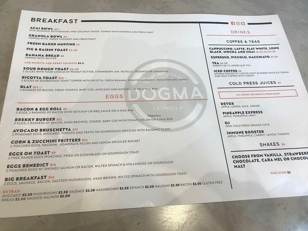"Photo of Dogma Cronulla  by <a href=""/members/profile/Petrhyce"">Petrhyce</a> <br/>Breakfast menu <br/> December 15, 2017  - <a href='/contact/abuse/image/89226/335676'>Report</a>"