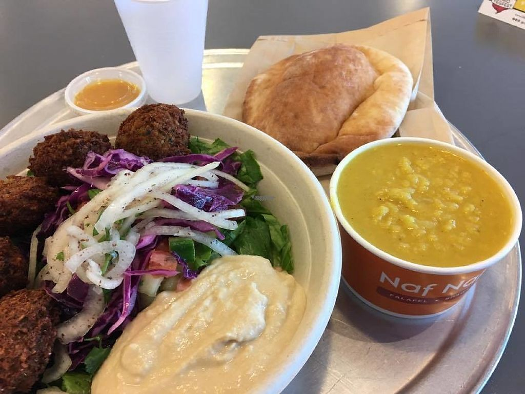 "Photo of Naf Naf Grill  by <a href=""/members/profile/Vegan%20Captioner"">Vegan Captioner</a> <br/>Hummus on a bed of greens with sauteed onions and falafel, lentil soup, and pita baked in the restaurant <br/> March 30, 2017  - <a href='/contact/abuse/image/89248/242765'>Report</a>"