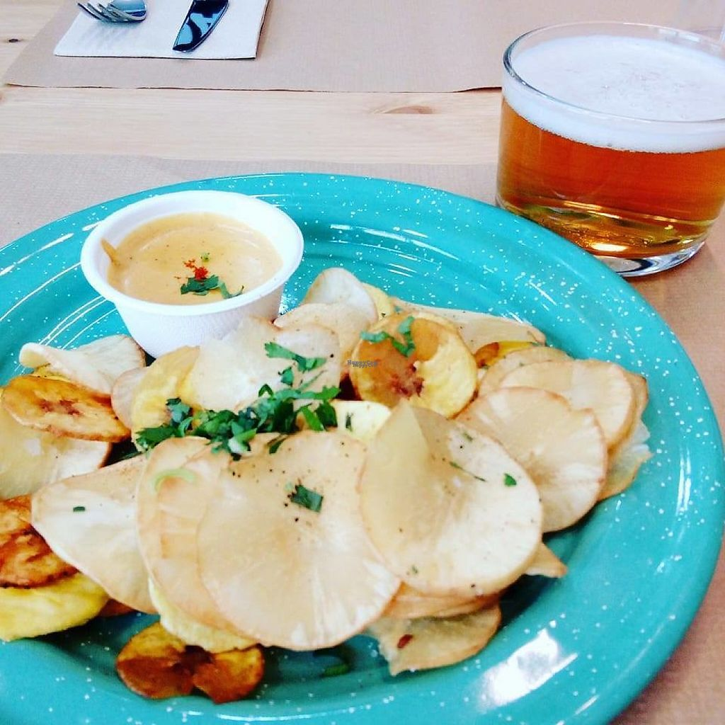 """Photo of Mumbal  by <a href=""""/members/profile/Veroevv"""">Veroevv</a> <br/>Yucca and banana chips with cheddar vegan sauce <br/> March 27, 2017  - <a href='/contact/abuse/image/89250/241716'>Report</a>"""