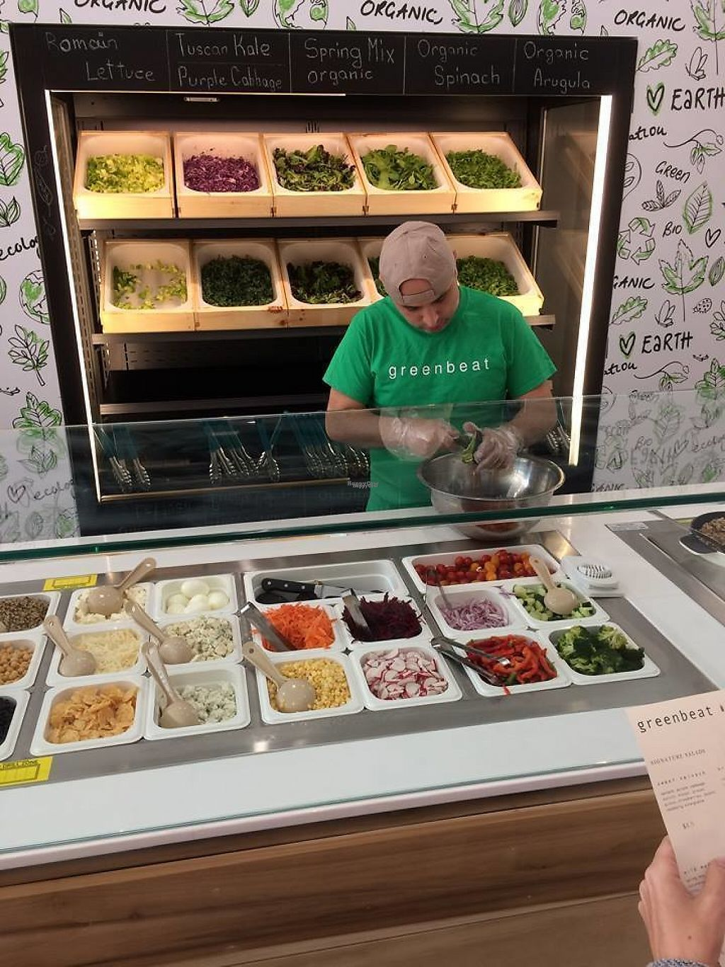 "Photo of Greenbeat  by <a href=""/members/profile/triathletejack"">triathletejack</a> <br/>Part of the salad prep area; choice of 10 lettuces on the wall, 28 toppings below <br/> March 29, 2017  - <a href='/contact/abuse/image/89266/242427'>Report</a>"