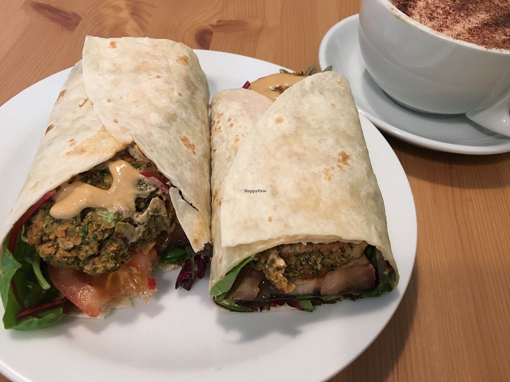 "Photo of Grassroots Health  by <a href=""/members/profile/LesleyS"">LesleyS</a> <br/>Falafel wrap with spicy sauce  <br/> April 14, 2018  - <a href='/contact/abuse/image/89267/385766'>Report</a>"