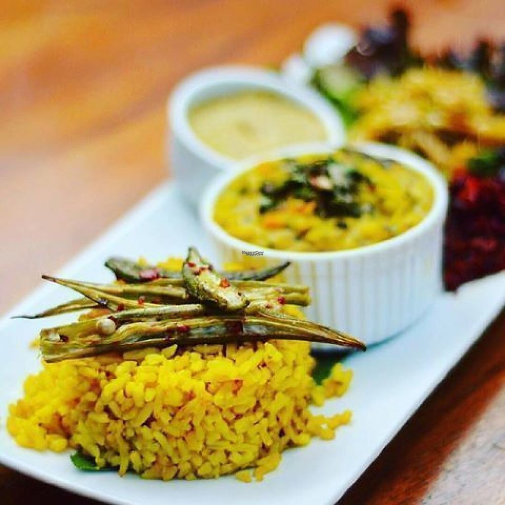 """Photo of Imbir  by <a href=""""/members/profile/community5"""">community5</a> <br/>Lentils tempered with mustard seed, cumin and curry leaves, served with spiced okra, beetroot vara and coconut sambal <br/> March 25, 2017  - <a href='/contact/abuse/image/89270/240875'>Report</a>"""