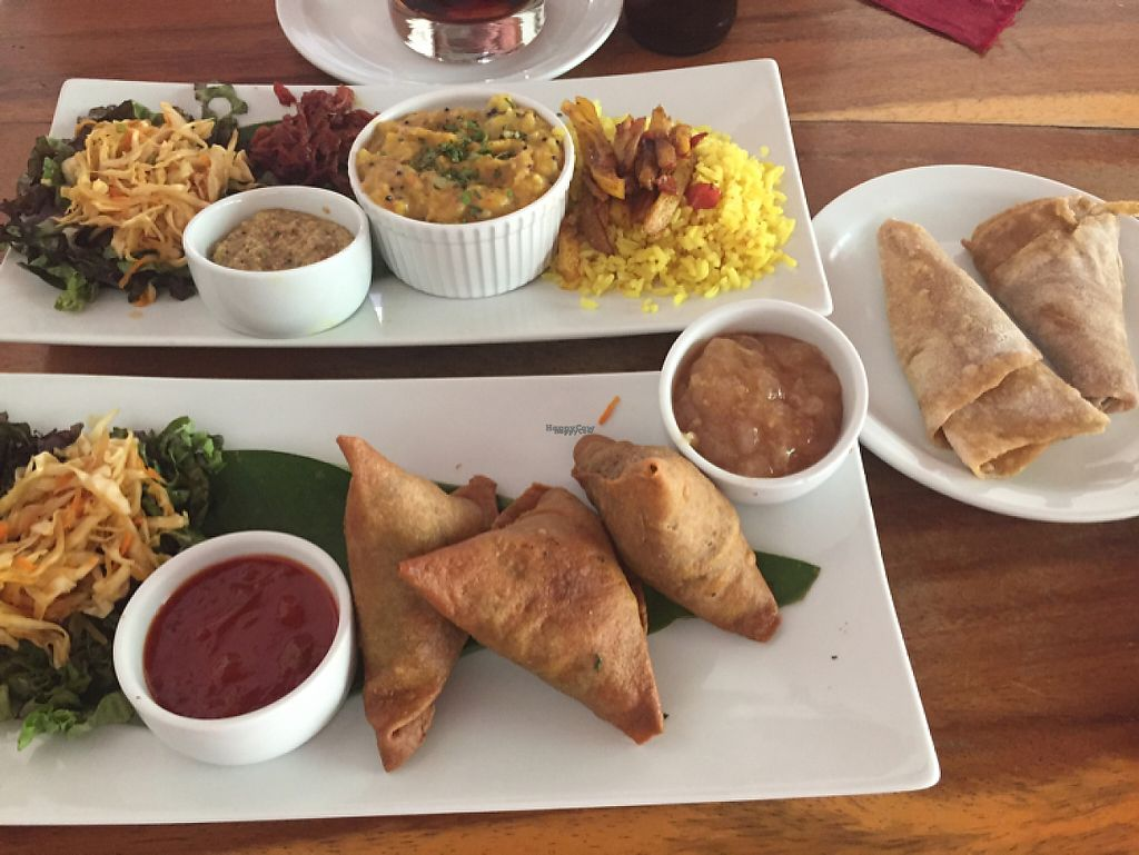 """Photo of Imbir  by <a href=""""/members/profile/lostwombat"""">lostwombat</a> <br/>Lentil curry plate, samosas and chapatis all vegan <br/> March 26, 2017  - <a href='/contact/abuse/image/89270/240979'>Report</a>"""