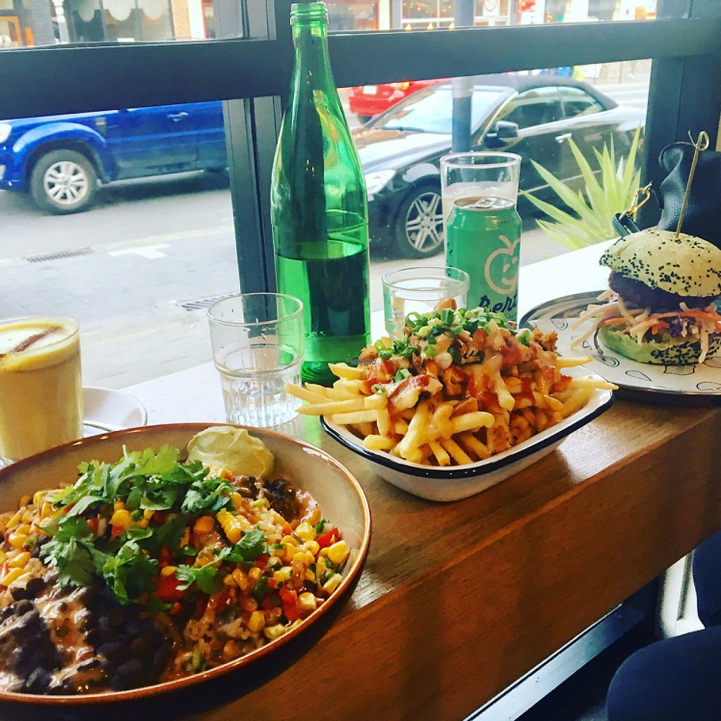 """Photo of Veg Bar  by <a href=""""/members/profile/Brit_in_nature"""">Brit_in_nature</a> <br/>Mexicali bowl, loaded fries with pulled jackfruit and cauliflower burger <br/> April 7, 2017  - <a href='/contact/abuse/image/89286/245575'>Report</a>"""