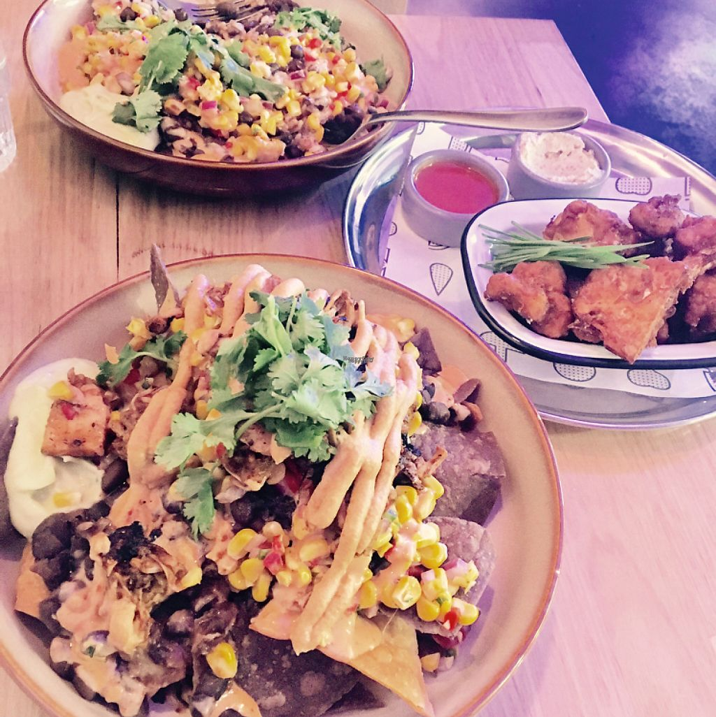 """Photo of Veg Bar  by <a href=""""/members/profile/Brit_in_nature"""">Brit_in_nature</a> <br/>Mexicali bowl, nachos with pulled jackfruit, cauliflower buffalo wings <br/> April 7, 2017  - <a href='/contact/abuse/image/89286/245577'>Report</a>"""