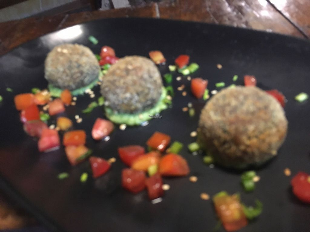 """Photo of Capriccio   by <a href=""""/members/profile/Microveg"""">Microveg</a> <br/>No-meat balls with Tofu, Dry Tomato, olive, cappers on Avocado sauce (vegan) <br/> March 29, 2017  - <a href='/contact/abuse/image/89311/242352'>Report</a>"""