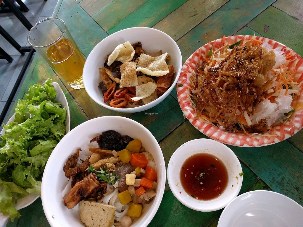 """Photo of Ans Vegetarian Cuisine   by <a href=""""/members/profile/mikeandsunny"""">mikeandsunny</a> <br/>Mi Quang, Cuo Lau and Papaya Salad <br/> January 20, 2018  - <a href='/contact/abuse/image/89317/348748'>Report</a>"""