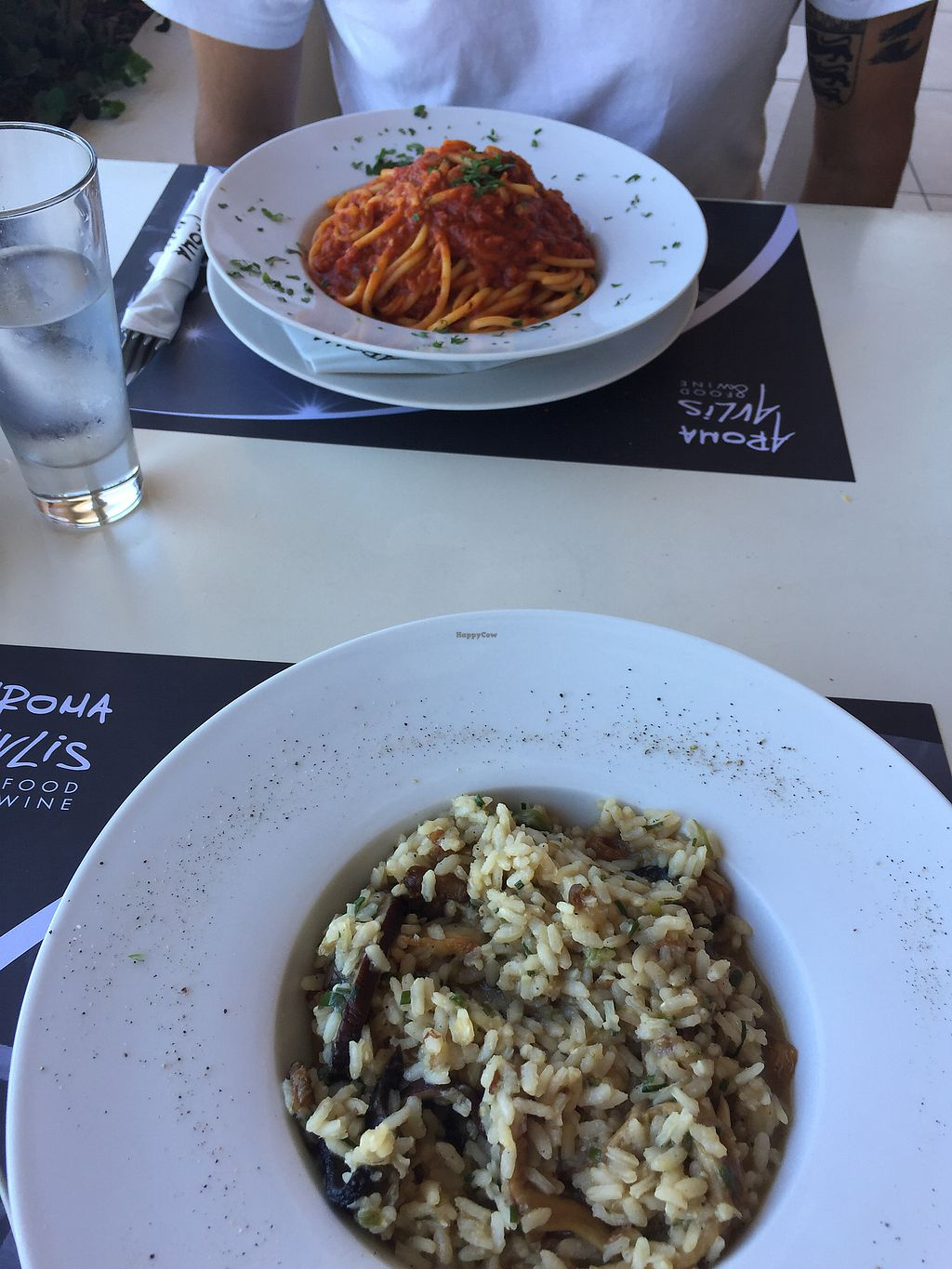 """Photo of Aroma Avlis  by <a href=""""/members/profile/indylille"""">indylille</a> <br/>Mushroom risotto and tomato pasta  <br/> September 19, 2017  - <a href='/contact/abuse/image/89325/305925'>Report</a>"""