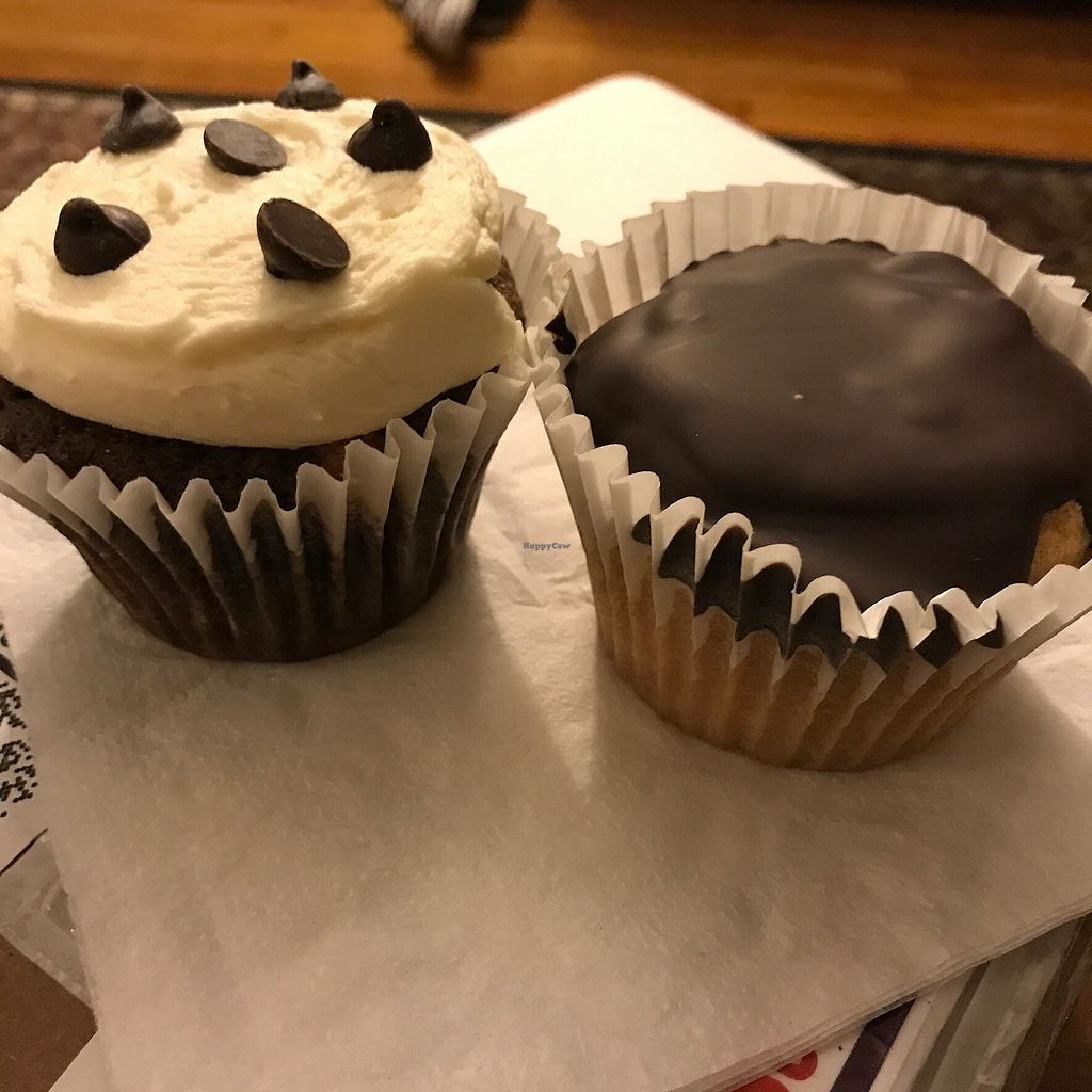 """Photo of Ten Forward Cafe  by <a href=""""/members/profile/MargRock"""">MargRock</a> <br/>Chocolate cupcake stuffed with chocolate chip cookie dough and boston creme cupcake <br/> September 14, 2017  - <a href='/contact/abuse/image/89376/304343'>Report</a>"""