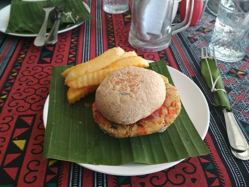 """Photo of Sa Bai Jai  by <a href=""""/members/profile/Roevin46"""">Roevin46</a> <br/>Veggie Burger and Chips  <br/> April 30, 2017  - <a href='/contact/abuse/image/89390/254042'>Report</a>"""