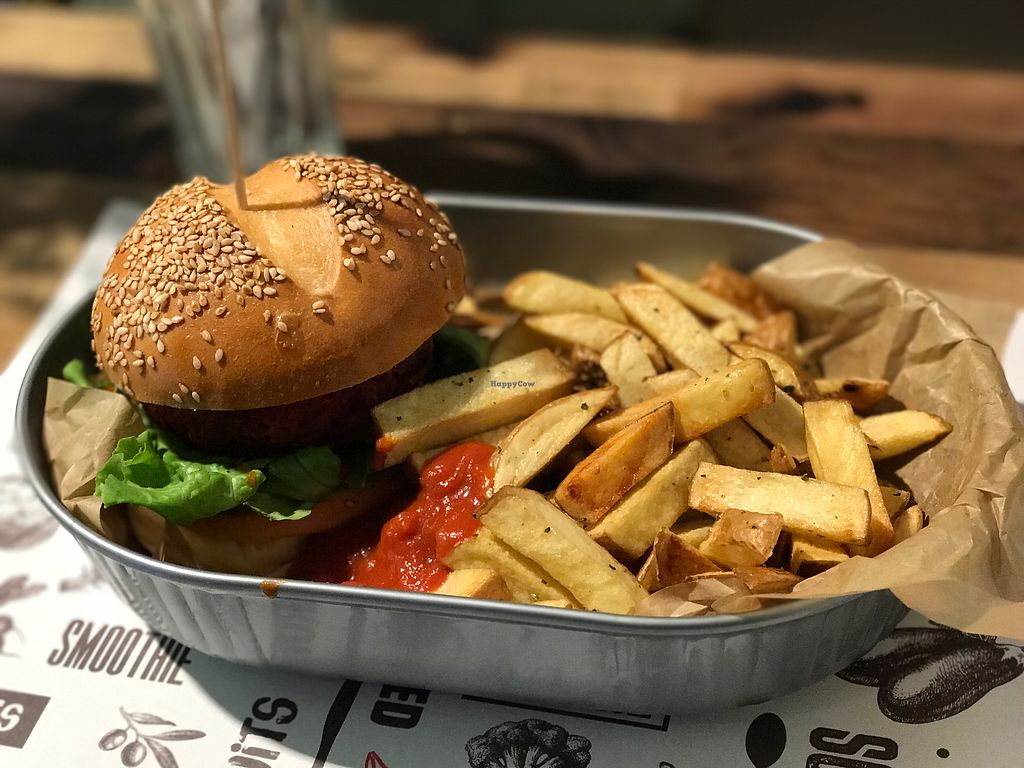 """Photo of Marta's Veggie Fusion  by <a href=""""/members/profile/kherrmann"""">kherrmann</a> <br/>Beet Burger! <br/> September 25, 2017  - <a href='/contact/abuse/image/89393/308275'>Report</a>"""