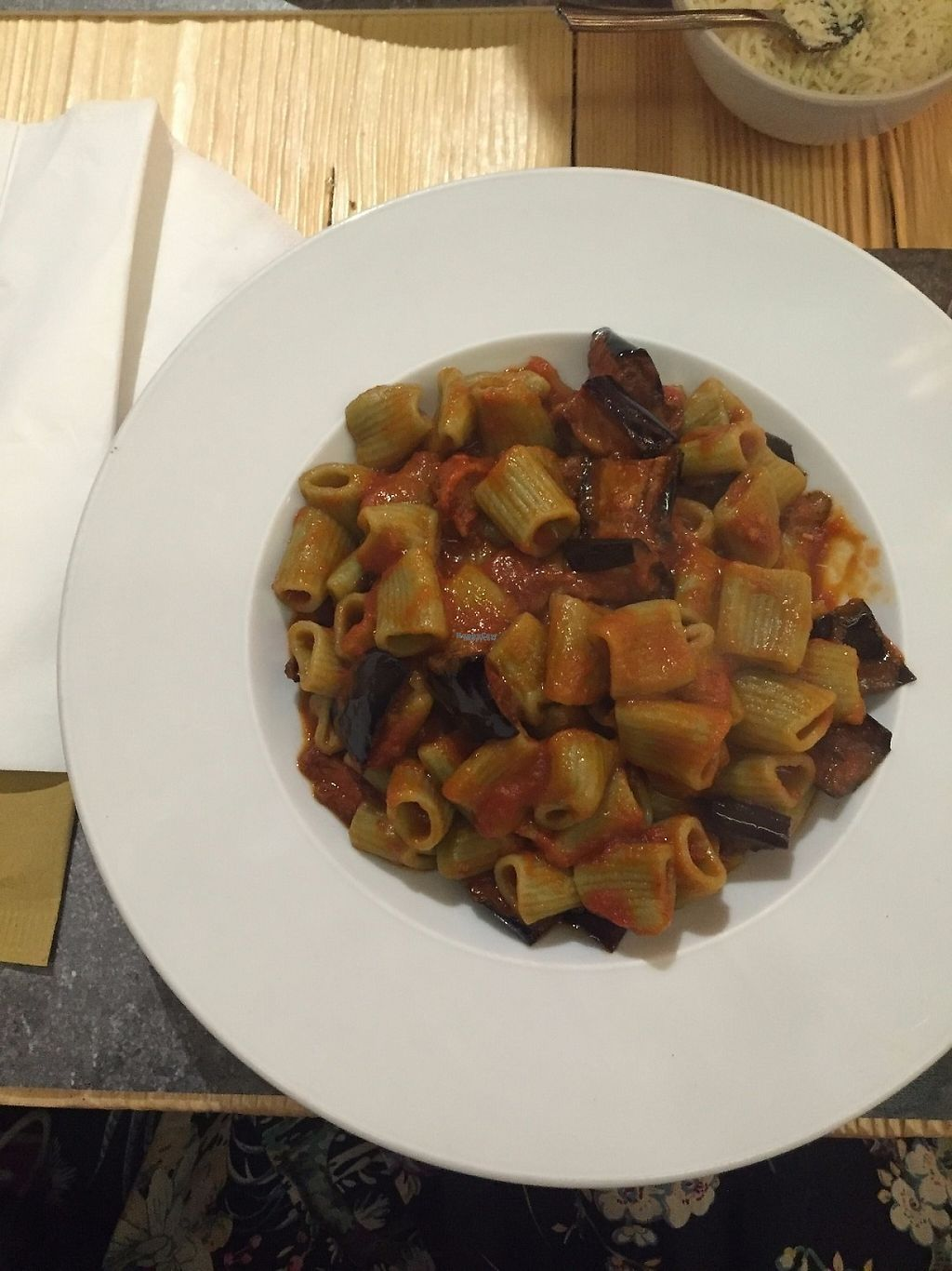"""Photo of Pastaus  by <a href=""""/members/profile/PlanetJanet"""">PlanetJanet</a> <br/>Pasta made from spinach with tomato sauce and aubergine <br/> April 3, 2017  - <a href='/contact/abuse/image/89414/244443'>Report</a>"""