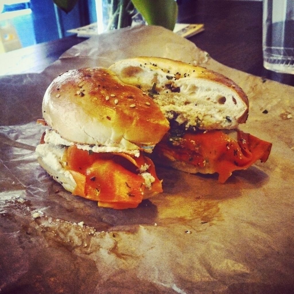"""Photo of Orchard Grocer  by <a href=""""/members/profile/GilShamgar"""">GilShamgar</a> <br/>Edith - bagel with cream cheese and lox <br/> April 18, 2017  - <a href='/contact/abuse/image/89415/249692'>Report</a>"""