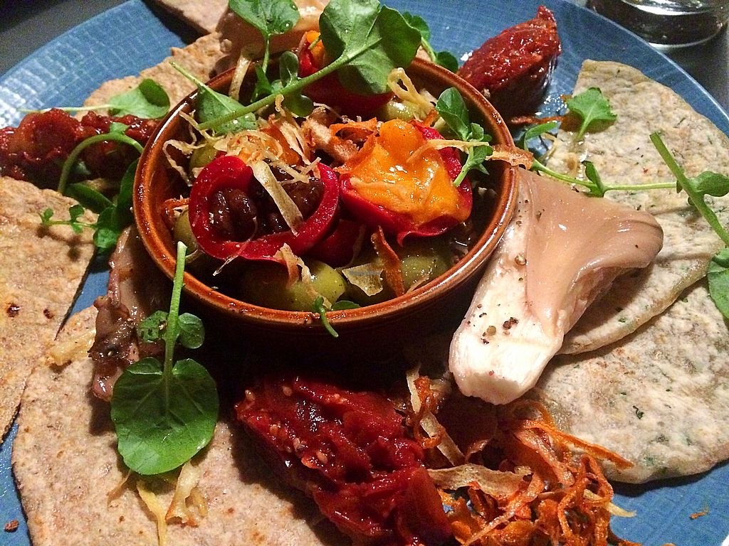 """Photo of The Moody Boar  by <a href=""""/members/profile/CiaraSlevin"""">CiaraSlevin</a> <br/>Stuffed peppers, olives, mushrooms, bread & chutney (vegan) <br/> January 14, 2018  - <a href='/contact/abuse/image/89482/346323'>Report</a>"""