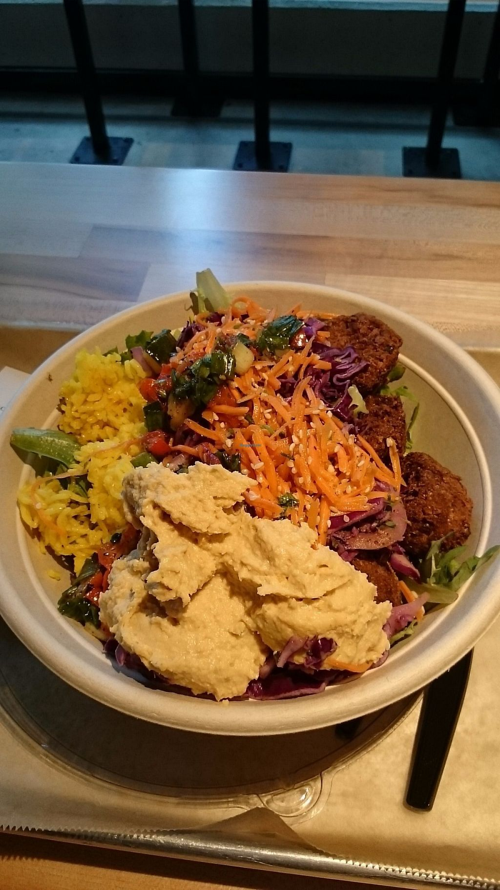 """Photo of Noon Mediterranean  by <a href=""""/members/profile/ZoraySpielvogel"""">ZoraySpielvogel</a> <br/>Salad bowl with falafel.  <br/> May 31, 2017  - <a href='/contact/abuse/image/89544/264552'>Report</a>"""