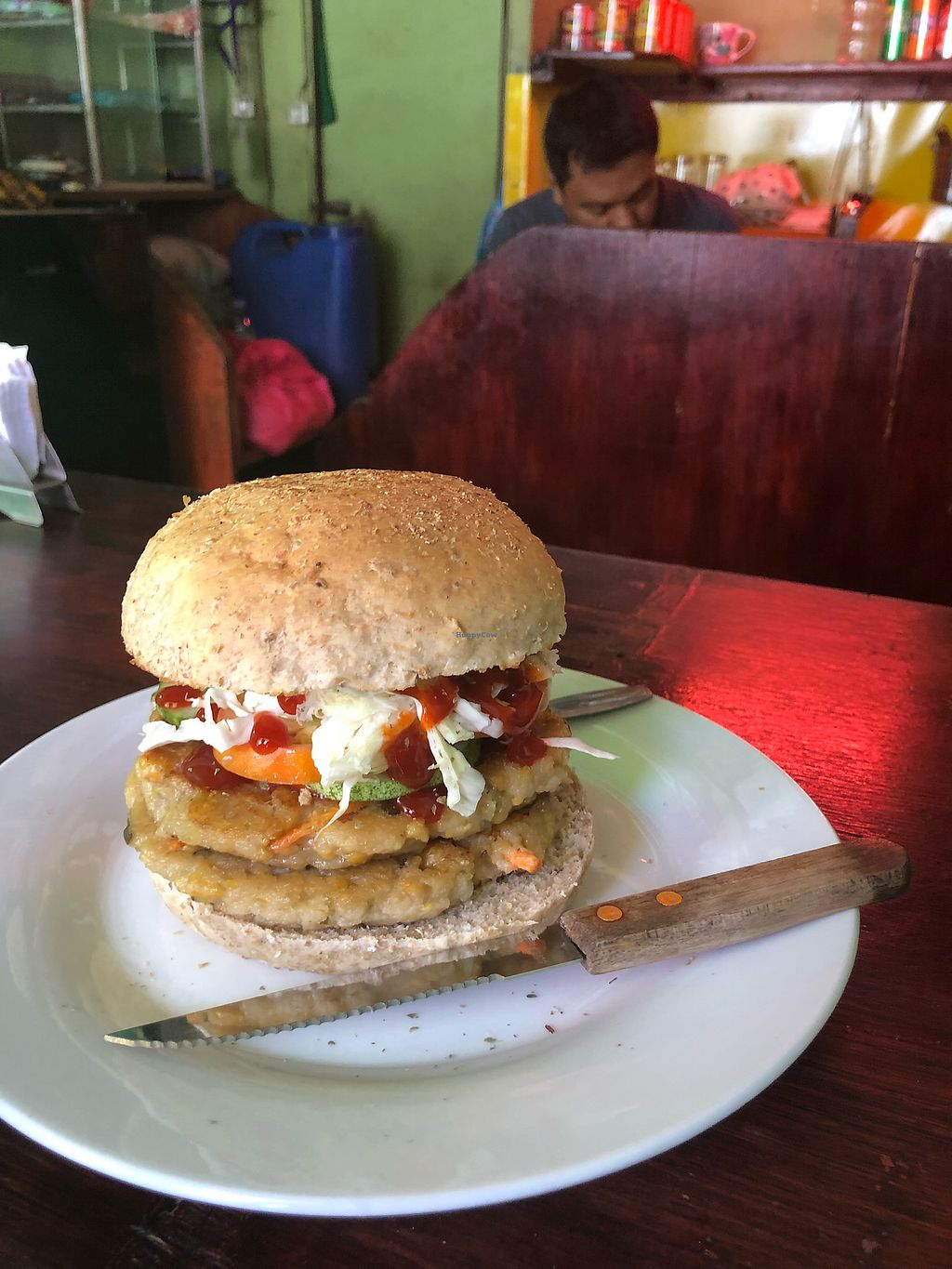 """Photo of Pauls's Magic - Vegan Veggie Snacks  by <a href=""""/members/profile/emanu"""">emanu</a> <br/>Double Decker Falafel Burger <br/> January 10, 2018  - <a href='/contact/abuse/image/89570/345020'>Report</a>"""