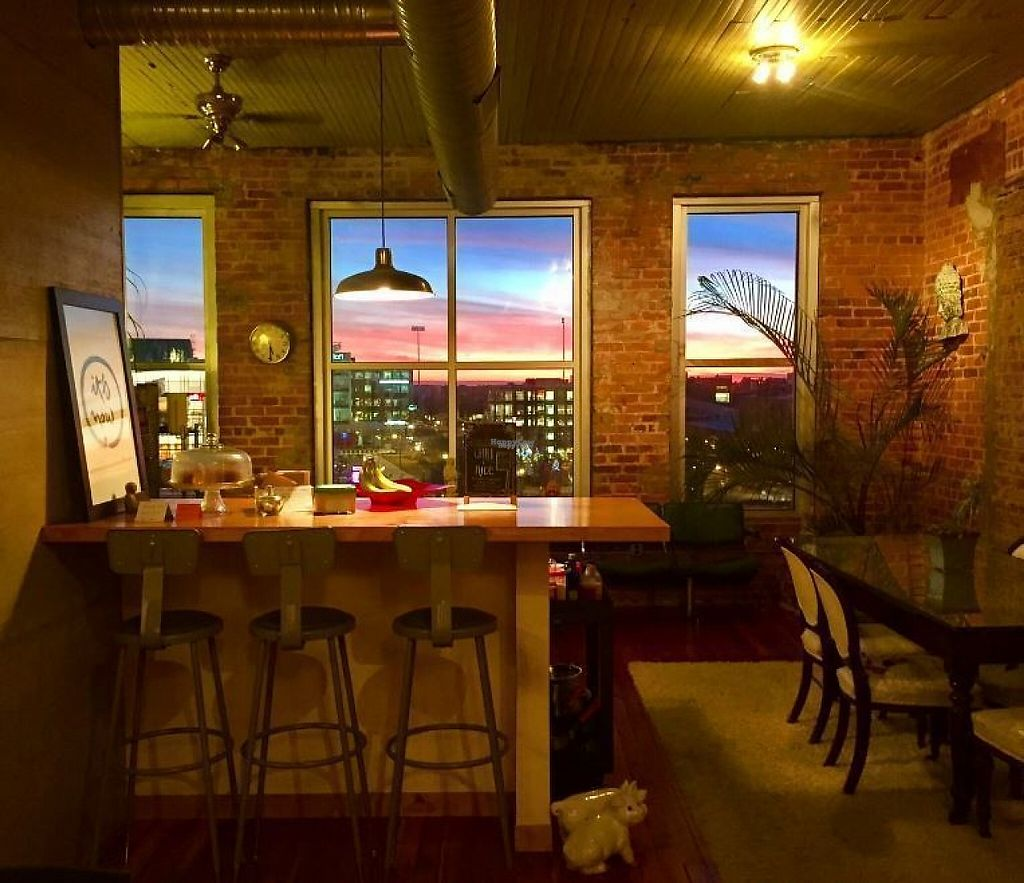 """Photo of Global Breath Studio  by <a href=""""/members/profile/turtleveg"""">turtleveg</a> <br/>beautiful sunset out the back windows of the studio <br/> April 4, 2017  - <a href='/contact/abuse/image/89578/244698'>Report</a>"""