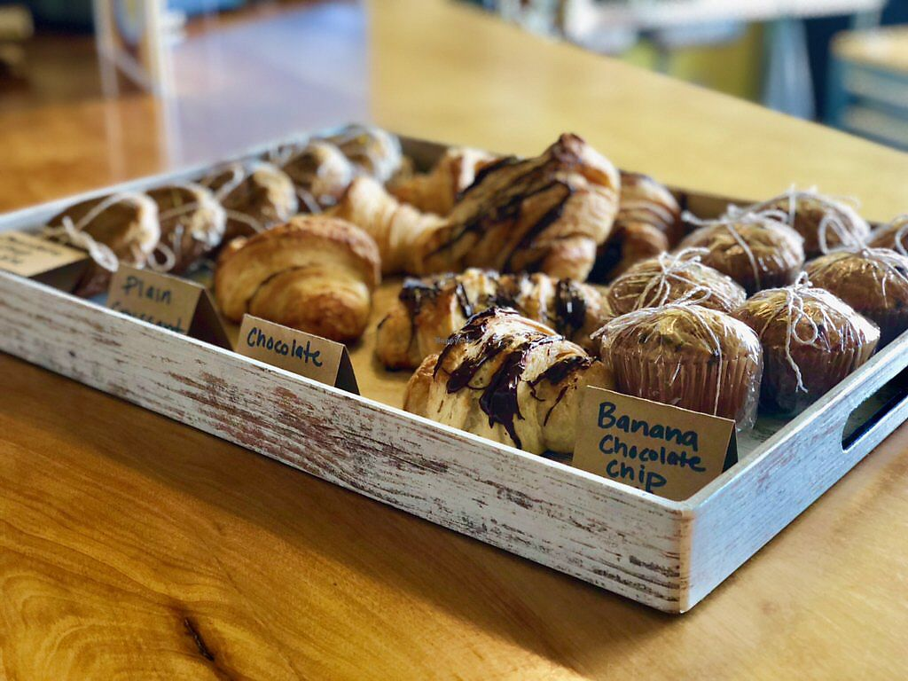 """Photo of Global Breath Studio  by <a href=""""/members/profile/turtleveg"""">turtleveg</a> <br/>Vegan croissants and more. Available after most morning classes. Prepared fresh and delivered by Crumbs Bakery NC.  <br/> March 13, 2018  - <a href='/contact/abuse/image/89578/370284'>Report</a>"""