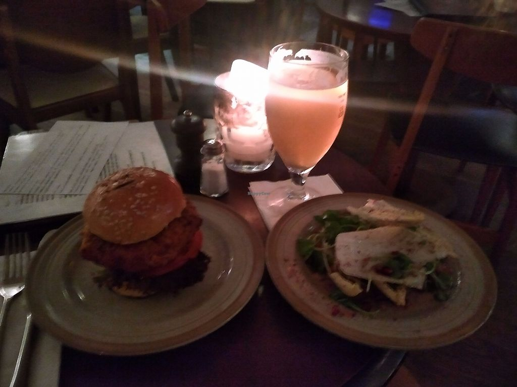 "Photo of Under the Stairs  by <a href=""/members/profile/Ryecatcher"">Ryecatcher</a> <br/>carrot burger + salad (+beer) <br/> July 13, 2017  - <a href='/contact/abuse/image/89584/280050'>Report</a>"