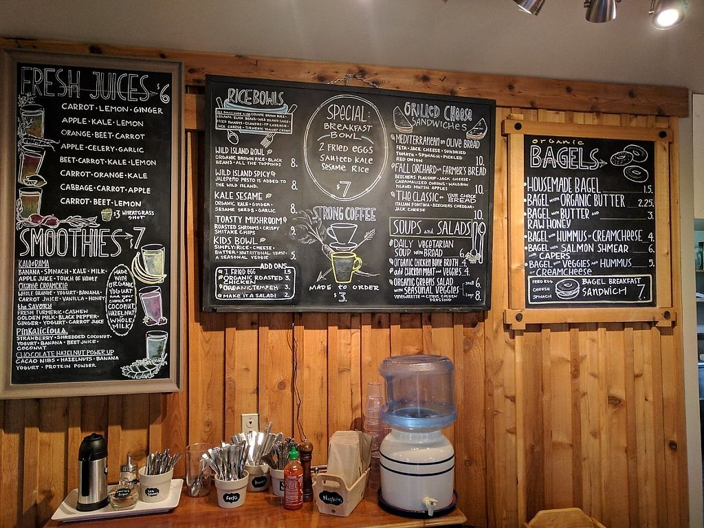 "Photo of Wild Island Juice Bagels & Bowls  by <a href=""/members/profile/lilfriend"">lilfriend</a> <br/>Menu <br/> May 24, 2017  - <a href='/contact/abuse/image/89600/261883'>Report</a>"