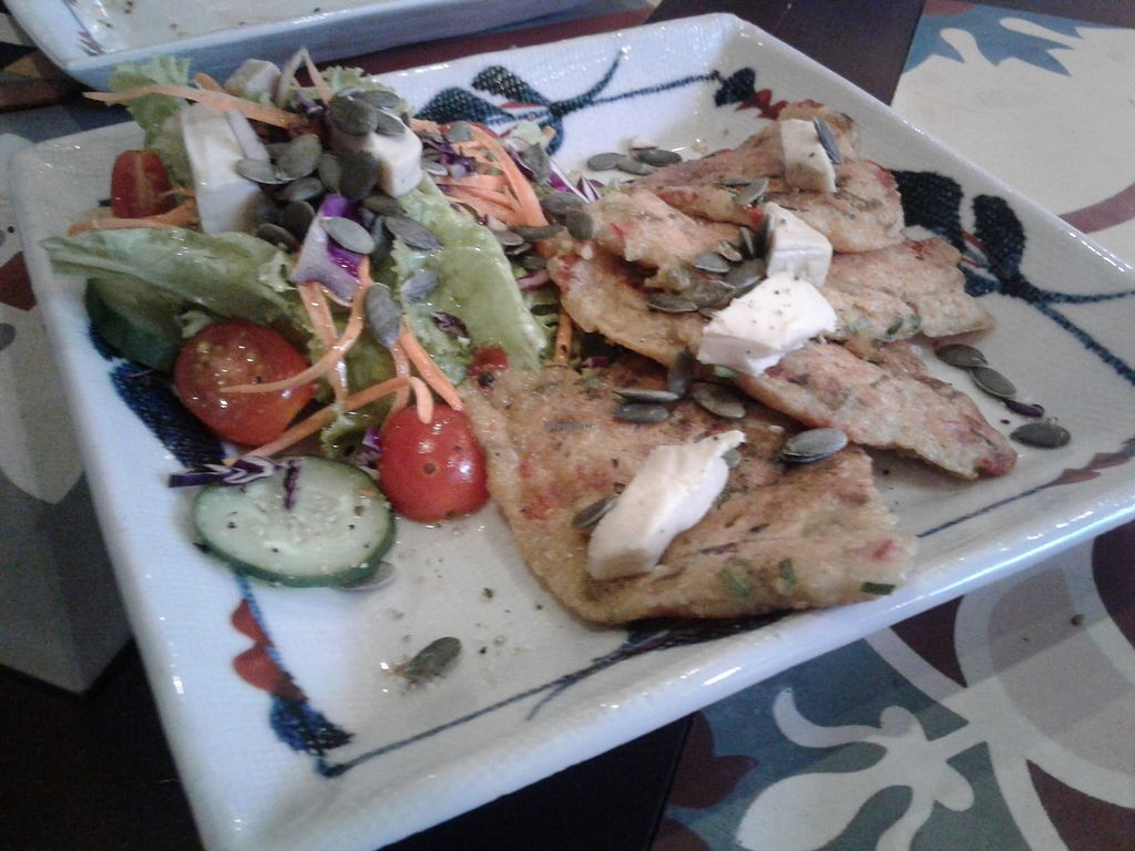 """Photo of The Organik House  by <a href=""""/members/profile/RunEatWorld"""">RunEatWorld</a> <br/>Quinoa pancakes with cashew cheese <br/> June 28, 2017  - <a href='/contact/abuse/image/89675/274255'>Report</a>"""