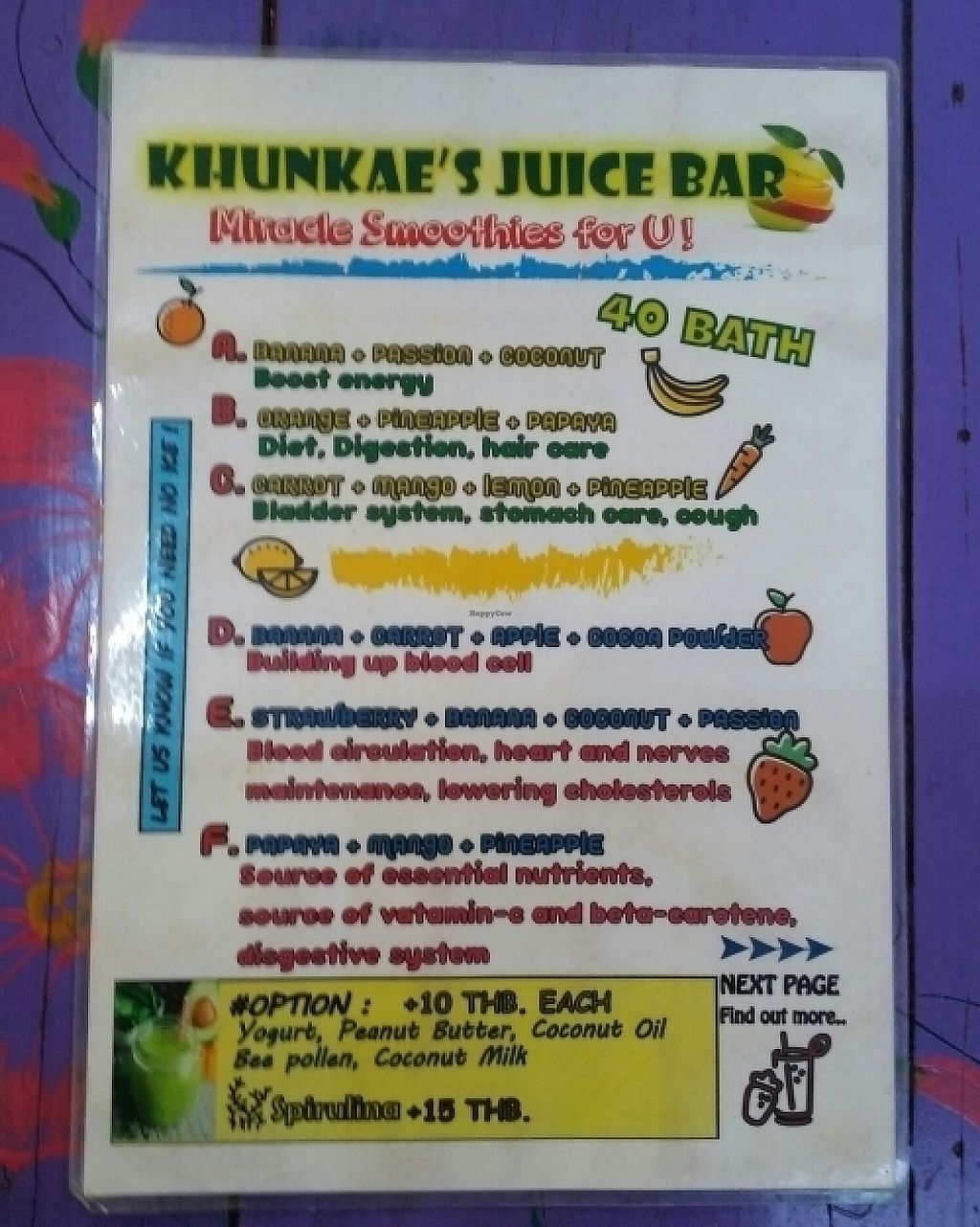 """Photo of Khun Kae's Juice Bar  by <a href=""""/members/profile/Mike%20Munsie"""">Mike Munsie</a> <br/>menu 2 <br/> June 5, 2017  - <a href='/contact/abuse/image/89676/265974'>Report</a>"""
