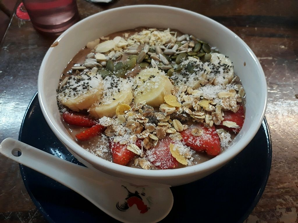 """Photo of Khun Kae's Juice Bar  by <a href=""""/members/profile/LilacHippy"""">LilacHippy</a> <br/>Chocolate Smoothie Bowl <br/> January 4, 2018  - <a href='/contact/abuse/image/89676/342816'>Report</a>"""