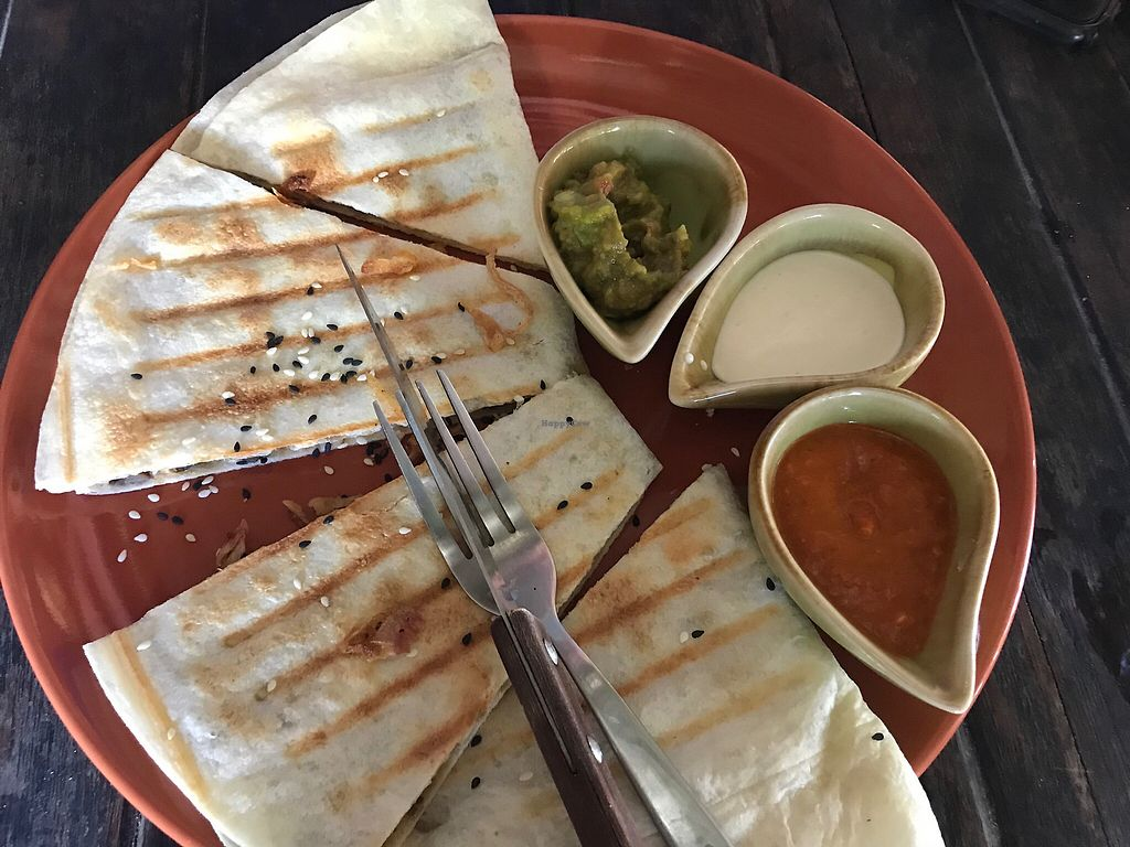 "Photo of Pure Vegan Heaven  by <a href=""/members/profile/AllieK."">AllieK.</a> <br/>Mushroom and vegan cheese quesadilla  <br/> March 22, 2018  - <a href='/contact/abuse/image/89736/374279'>Report</a>"