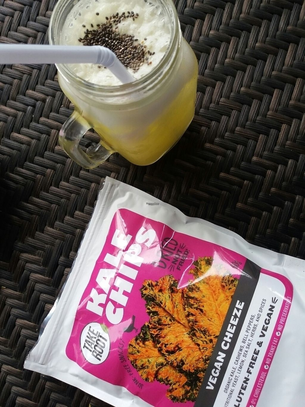 """Photo of Live All Day  by <a href=""""/members/profile/coco_papillon"""">coco_papillon</a> <br/>kale chips and pineapple smoothie <br/> April 4, 2017  - <a href='/contact/abuse/image/89745/244577'>Report</a>"""