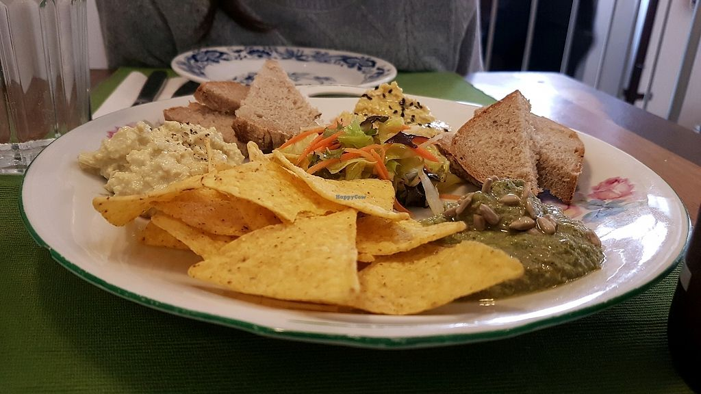 """Photo of CLOSED: U Zelenina  by <a href=""""/members/profile/OferKor"""">OferKor</a> <br/>a selection of starters - Hummus, Pesto Zucchini, no-egg salad <br/> September 15, 2017  - <a href='/contact/abuse/image/89832/304675'>Report</a>"""