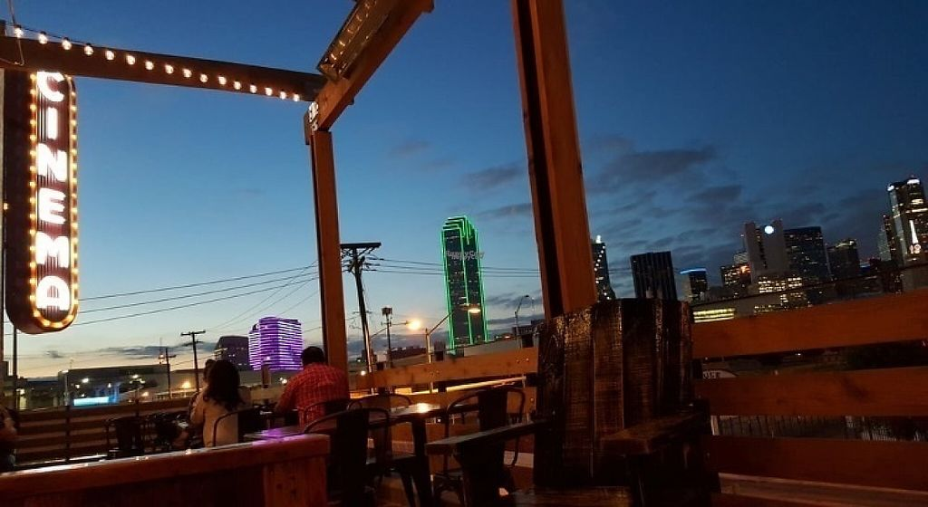 """Photo of Alamo Drafthouse Cinema  by <a href=""""/members/profile/Zuluwhiskey"""">Zuluwhiskey</a> <br/>Roof top patio looking at downtown Dallas <br/> April 6, 2017  - <a href='/contact/abuse/image/89837/245145'>Report</a>"""