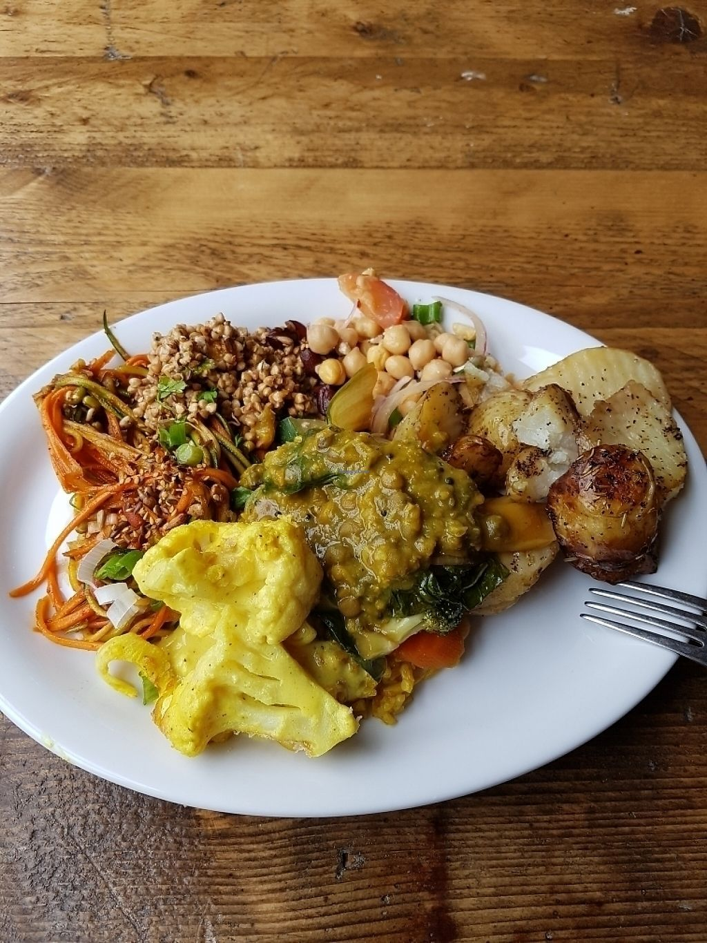 """Photo of Natural Healthy Foods Eatery  by <a href=""""/members/profile/MelanieStJohn"""">MelanieStJohn</a> <br/>salads, dahl, potatoes, cauliflower cheese <br/> June 4, 2017  - <a href='/contact/abuse/image/89849/265706'>Report</a>"""