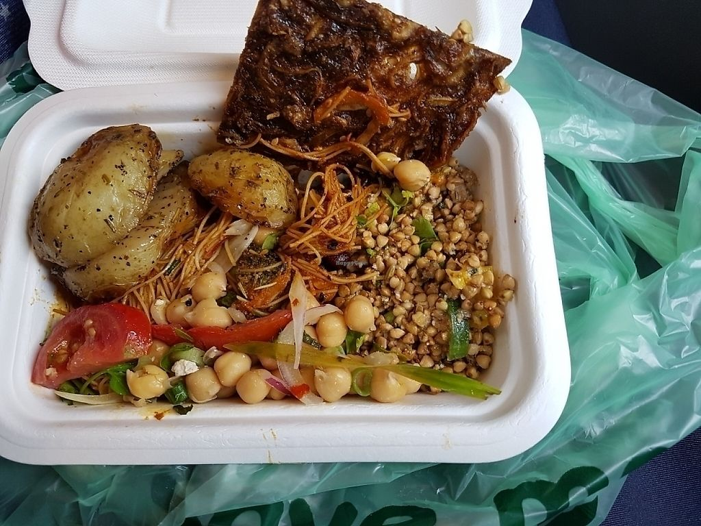 """Photo of Natural Healthy Foods Eatery  by <a href=""""/members/profile/MelanieStJohn"""">MelanieStJohn</a> <br/>onion bread, rosemary potatoes, buckwheat salad, singapore noodles & chickpea sala <br/> June 4, 2017  - <a href='/contact/abuse/image/89849/265708'>Report</a>"""