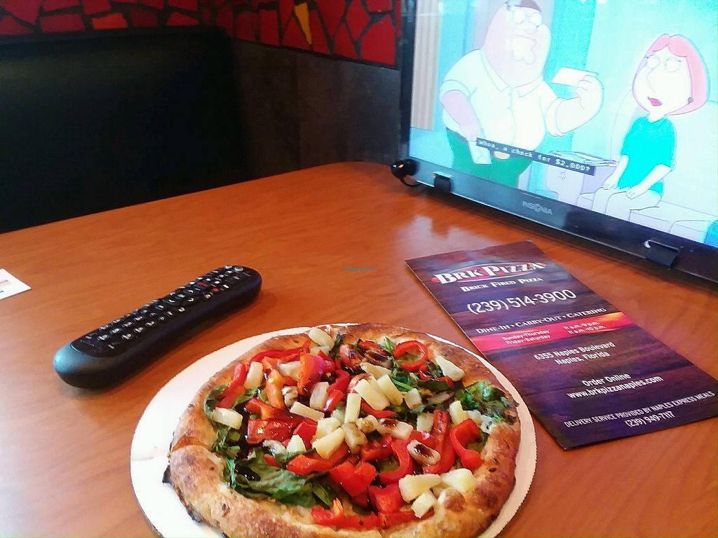 "Photo of BRK Pizza  by <a href=""/members/profile/mshelene"">mshelene</a> <br/>Eating a vegan ""power pizza"" while watching the tv in a booth <br/> April 23, 2018  - <a href='/contact/abuse/image/89850/390199'>Report</a>"