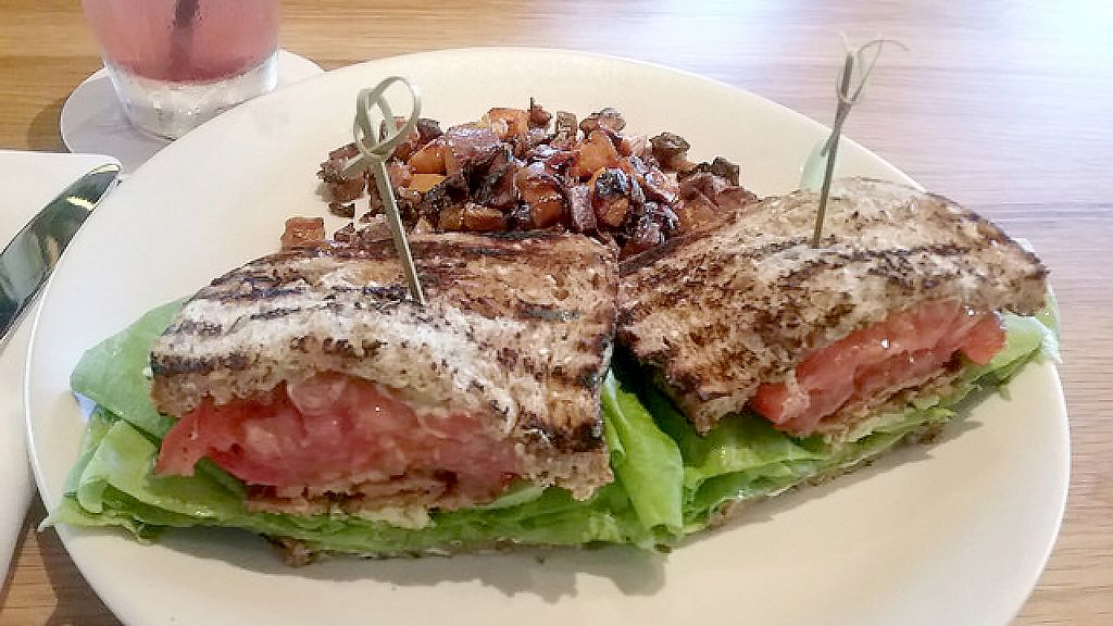 """Photo of True Food Kitchen  by <a href=""""/members/profile/mshelene"""">mshelene</a> <br/>T.L.T. Sandwich featuring smoked tempeh, lettuce, tomato, vegan mayonnaise, and avocado, plus a side of sweet potato hash <br/> April 5, 2017  - <a href='/contact/abuse/image/89851/245048'>Report</a>"""
