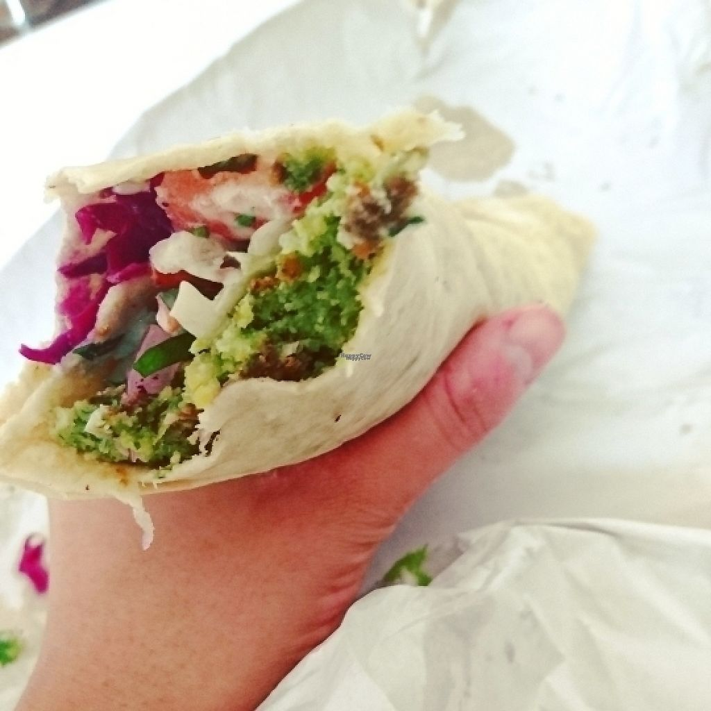 """Photo of Falafel King  by <a href=""""/members/profile/Kwacky"""">Kwacky</a> <br/>Falafel wrap made vegan, delicious and pretty big!  <br/> April 7, 2017  - <a href='/contact/abuse/image/89880/245429'>Report</a>"""