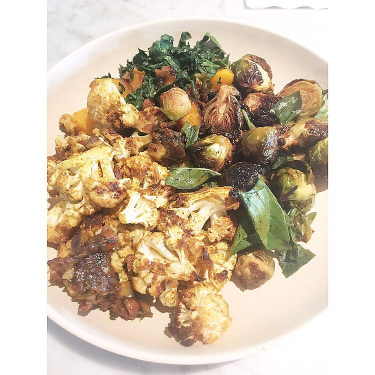 """Photo of Flower Child  by <a href=""""/members/profile/eac"""">eac</a> <br/>3 vegan side dishes: Roasted Butternut Squash, Yuzu Brussels Sprouts, and Indian Spiced Cauliflower <br/> October 5, 2017  - <a href='/contact/abuse/image/89901/311901'>Report</a>"""
