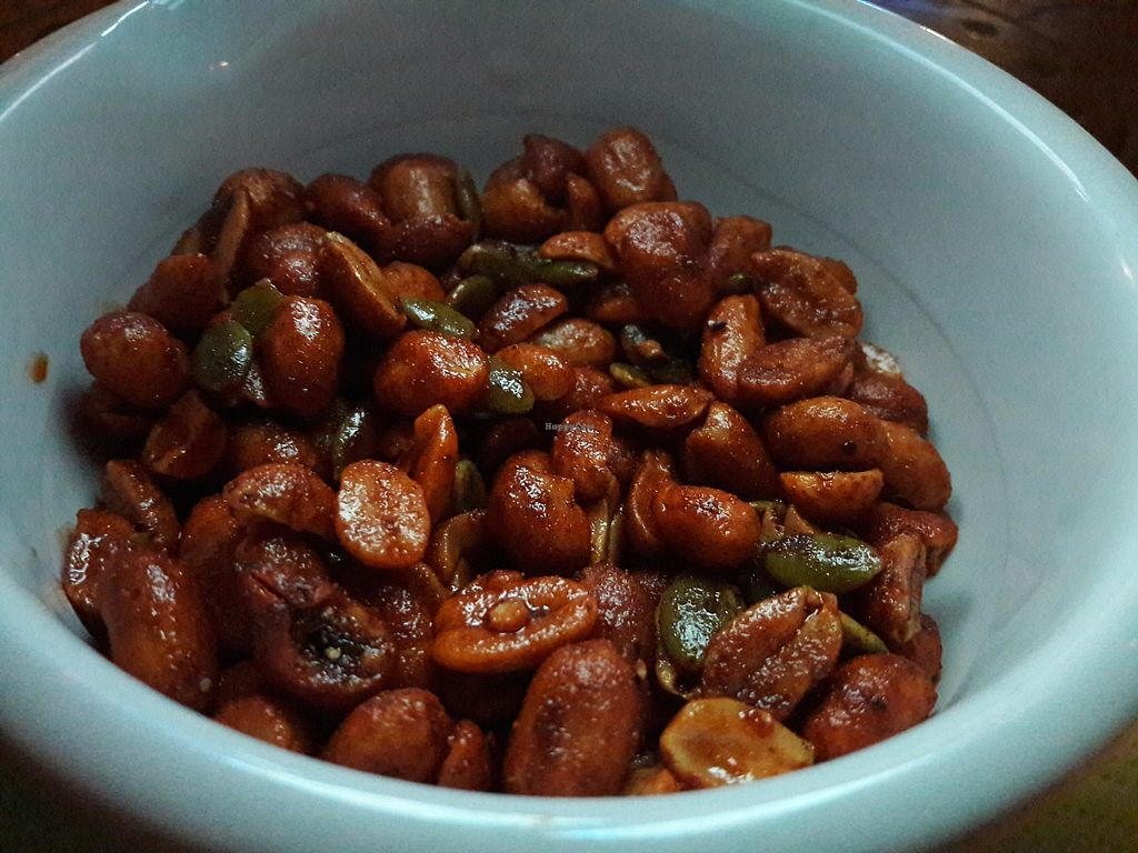 """Photo of Los Antojitos  by <a href=""""/members/profile/Veganolive1"""">Veganolive1</a> <br/>Spicy peanuts & pumpkin seeds <br/> September 11, 2017  - <a href='/contact/abuse/image/89940/303272'>Report</a>"""