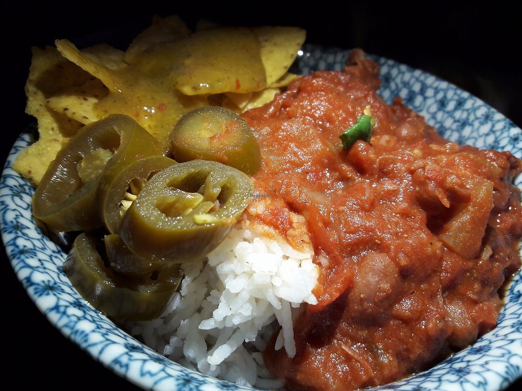"""Photo of Los Antojitos  by <a href=""""/members/profile/Veganolive1"""">Veganolive1</a> <br/>Chilli & rice <br/> September 11, 2017  - <a href='/contact/abuse/image/89940/303273'>Report</a>"""