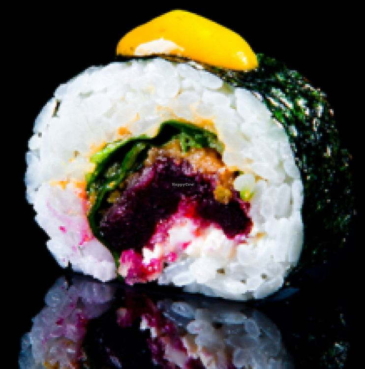 """Photo of Sushi Plaza  by <a href=""""/members/profile/AnastasijaMinits"""">AnastasijaMinits</a> <br/>Beetroot tempura roll with spinach and mango mint sauce <br/> June 12, 2017  - <a href='/contact/abuse/image/89954/268475'>Report</a>"""